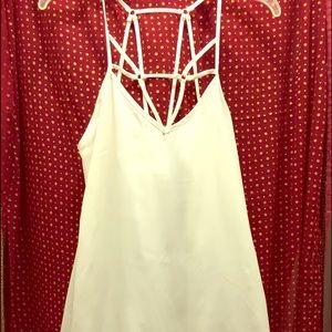 NWOT Caged White Chiffon lined Dress by i joah